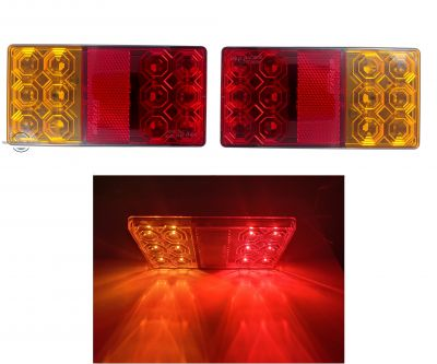 2 x Led Tail Rear Stop Indicator lights truck trailer lorry signal E11 12v
