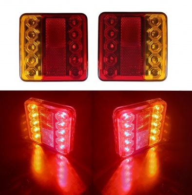 2 x 10 Led Tail Rear Stop Indicator lights truck trailer lorry signal E11 12v