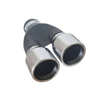 Tailpipe Exhaust Car Black Silver Double 250mm