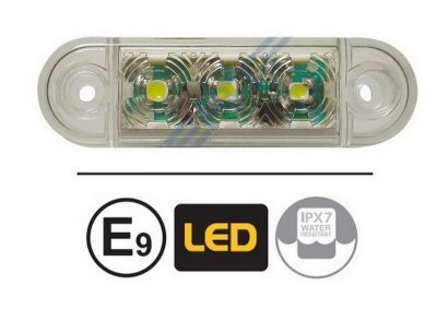 LED Side Marker lights Trailer Truck Lorry Caravan White E9 12v 24v