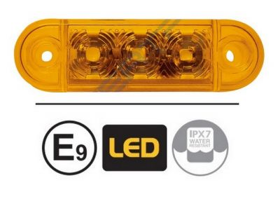 LED Side Marker lights Trailer Truck Lorry Caravan Amber  E9 12v 24v