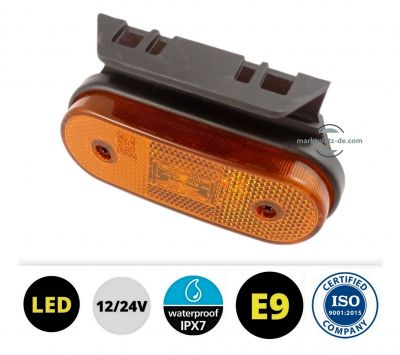 LED Side Marker lights Trailer Truck Amber E9 ISO9001 12v 24v