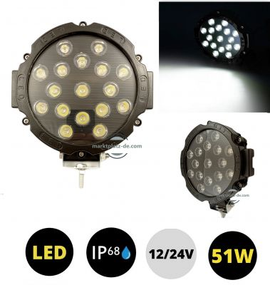 LED Round Work Light 51W Lamp Fog Offroad Driving Light Black