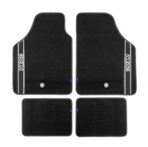 Black Carpet Floor Mats 4 pieces Set Universal