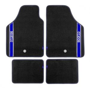 Sparco Black Carpet Floor Mats 4 pieces Set Universal