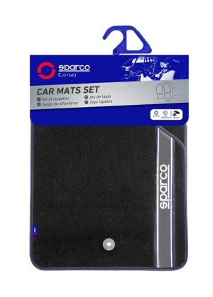 Sparco Black Grey Carpet Floor Mats 4 pieces Set Universal