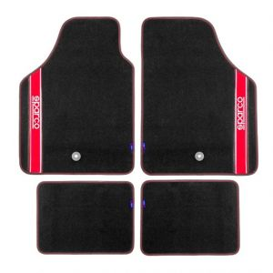 Sparco Black Red Carpet Floor Mats 4 pieces Set Universal