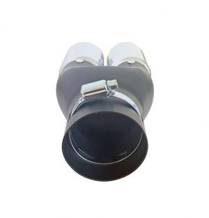 Tailpipe Exhaust Car Black Silver Double 210mm