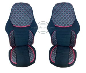 Seat covers for MAN TGX Truck Black Red Leather-Textil