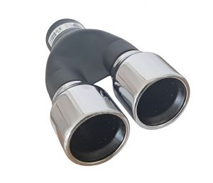 Black Silver Tailpipe Exhaust Car Double 250mm