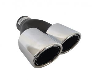 Tailpipe Exhaust 255mm Car Black Chromed Silver Double